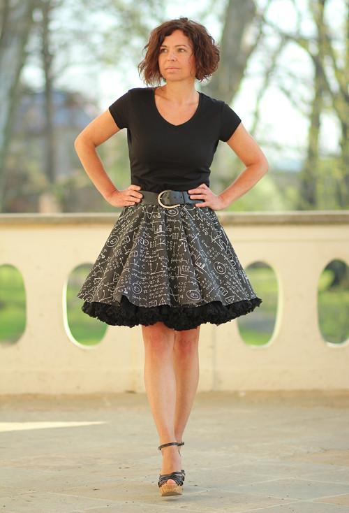 FuFu sukně vzor tabule + černá spodnička