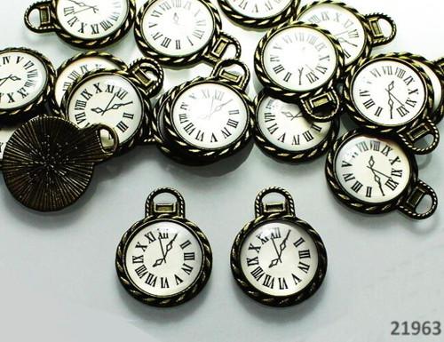 21963 Vintage přívěšek HODINY bronz, á 1ks