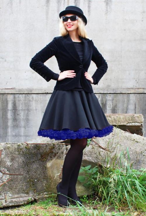 FuFu sukně černá s modrou spodničkou