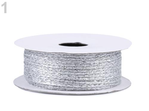 Lurexová šňůrka / provázek Ø1 mm(20m) - stříbrná
