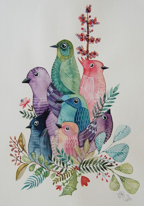 Akvarel Rodinné foto - Jarabáci