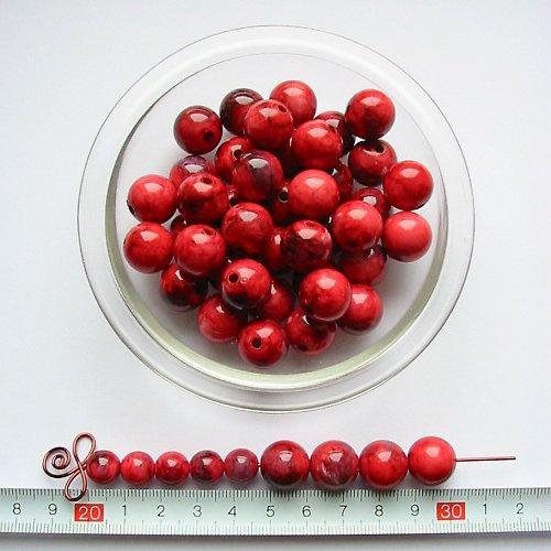 Mramorová kulička 14 mm, červená, 5 ks