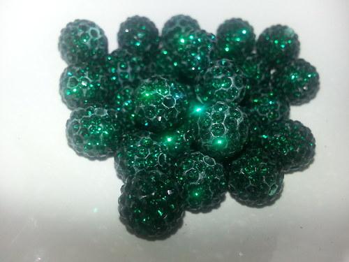 Nádherné shamballa korálky tm. zelená