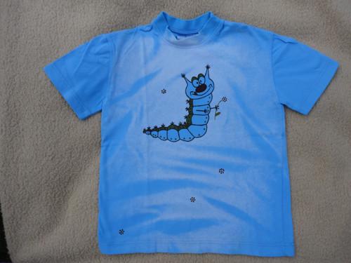 """Dětské modré tričko \""""housenka\"""" vel. 116"""