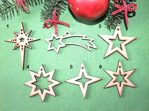 Vánoční dřevěné ozdoby HVĚZDY - 6 druhů - M