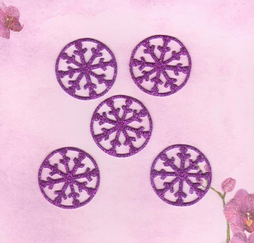 Vločky ze třpytivé pěnovky - fialové (5 ks)