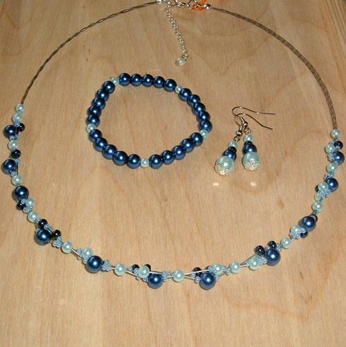 Perličková souprava - modrá