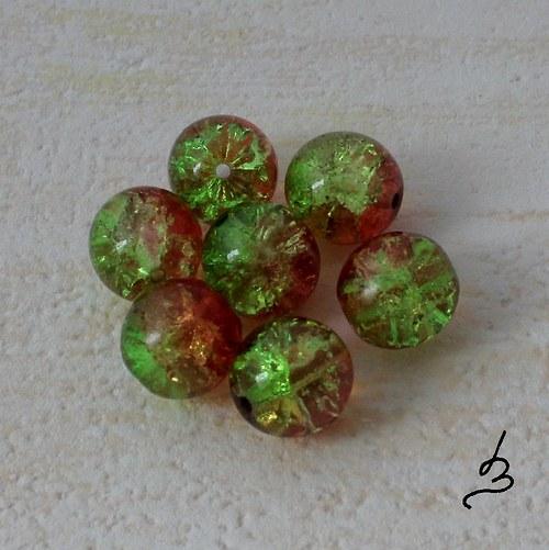 Kuličky 10 mm oranžovozelené - 6 ks