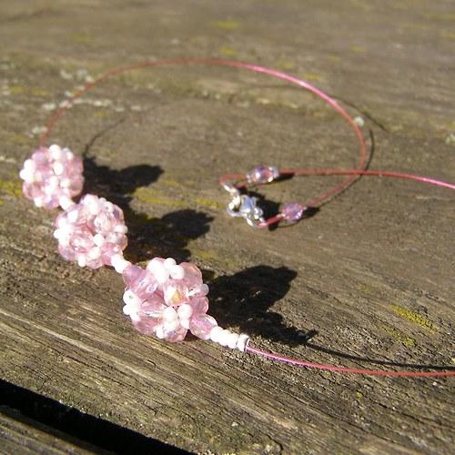 Kuličky na lanku sv. růžové a náušnice