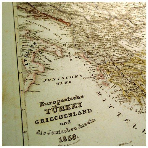 Historická mapa z roku 1850 TURECKO, ŘECKO č.1069