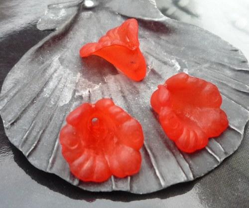 akrylové zvonky  4 ks- červené