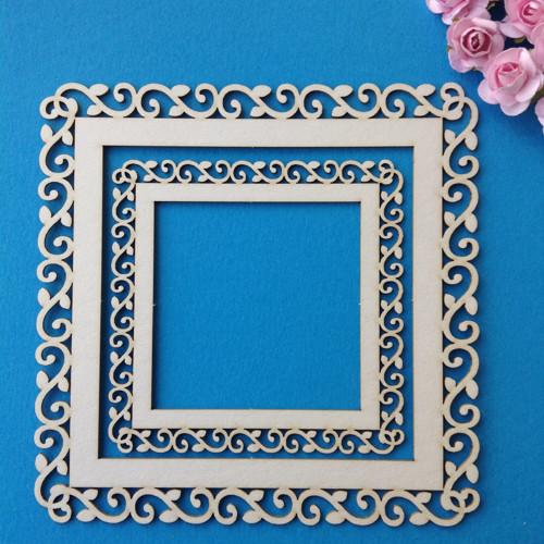 Dekorace ,chipboard 2 ks, 13,5 x 13,5 cm(CHR 4)