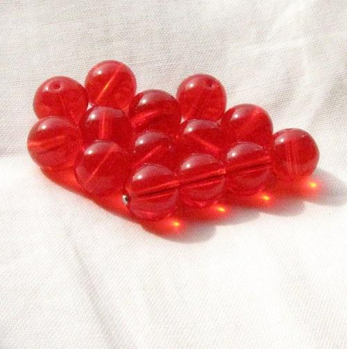 Červené korálky 10 mm, 14 ks