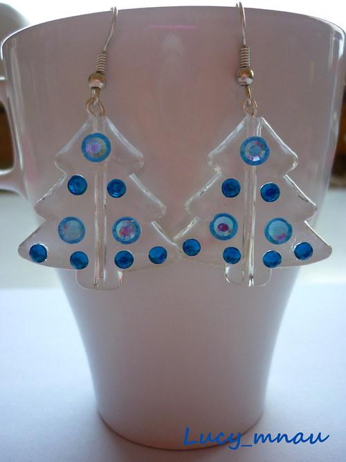 Náušničky stromčeky-modré :)