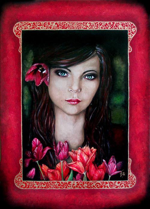 Žena s tulipány