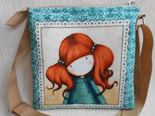 taška - crossbody - holčička s culíky