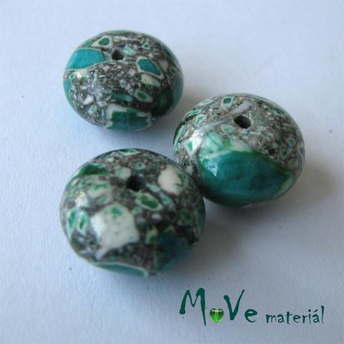 Korálky Marble disk zelený 8x13 mm 3 ks
