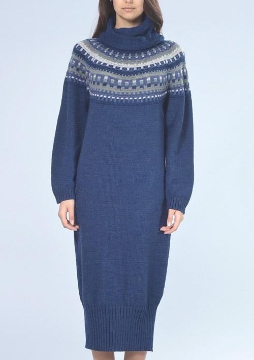 2bb02e100999 Dlouhé modré šaty s rolákem-6439   Zboží prodejce fashionstylecz ...