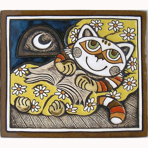 Keramický obrázek - Kočka v peřině K-111-M-ZL