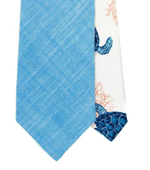 Pánská Twin kravata azurová se želvami