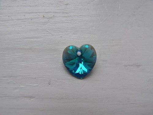 Swarovski srdce 14, 4x14 mm - Blue Zircon AB