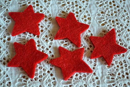 Hvězda červená - výsek z plsti