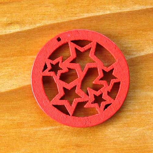 Dřevěné Kolečko s Hvězdami -  Červené