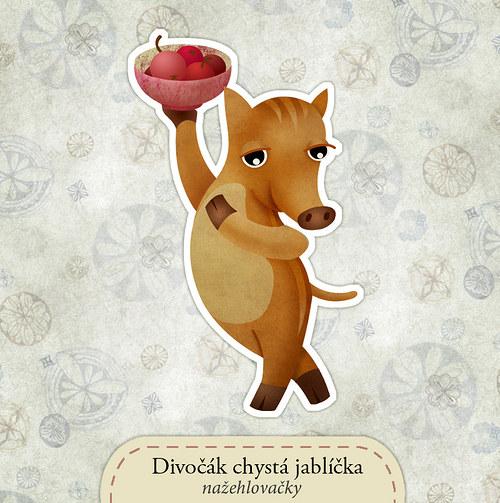 Divočák chystá jablíčka - nažehlovačka