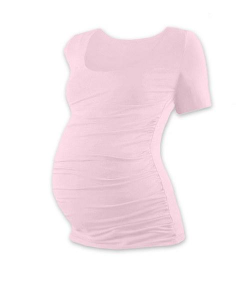 Těhotenské tričko KR světle růžové