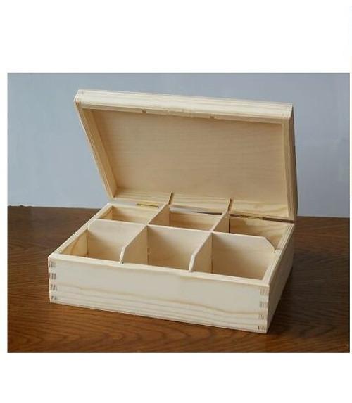 Krabička na čaj - 6 komor  BZ(PHU-CAJOVKA-6-BZ)