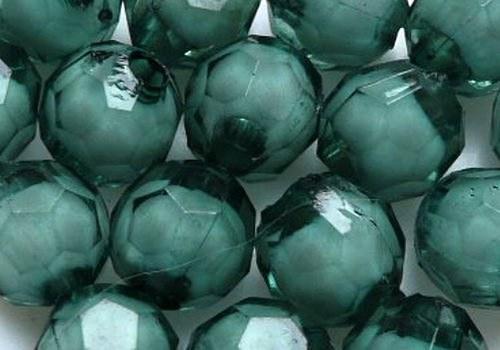 Plastové kuličky broušené 7 mm - tm.zelená / 10 ks