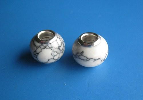 Korálky - 2ks,šedobílá imit. kamen