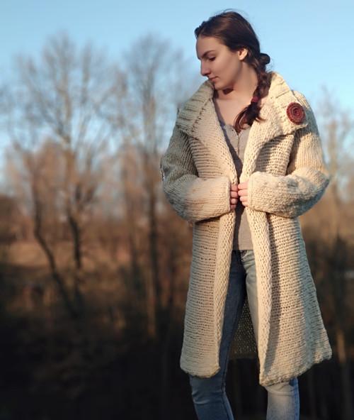 Ručně předený vlněný kabátek Natural Long