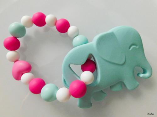 Kousátko pro miminka - zelený slon