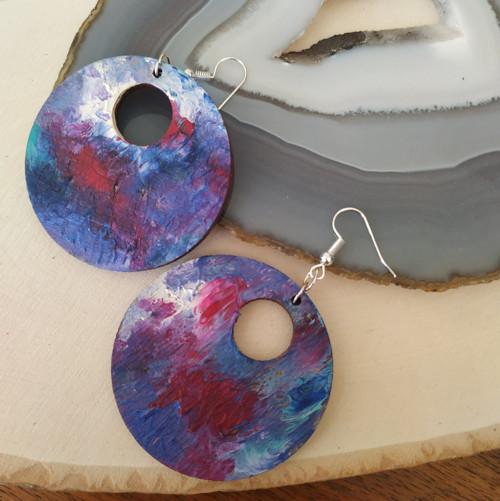Batikované kruhy modrá magenta
