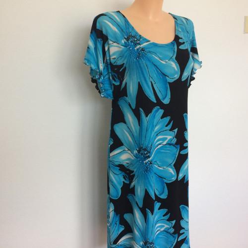 Krátké šaty-modrý květ 52-54