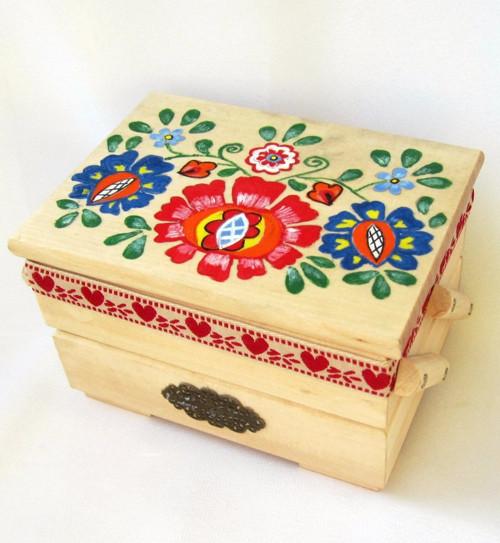 Drevená skrinka rozkladacia-ručne maľovaná