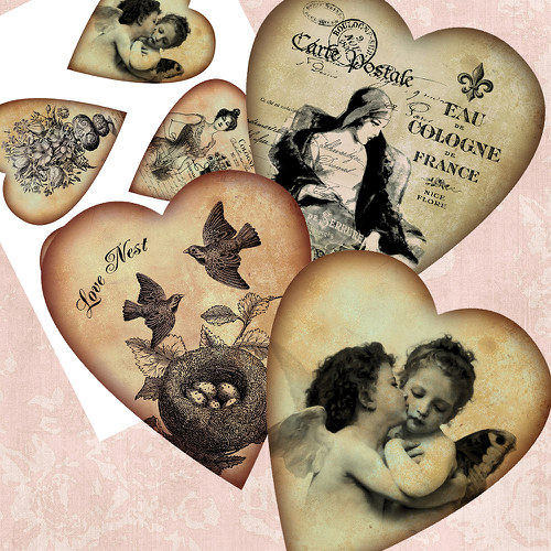 Nažehlovací obrázky- Srdce - 5 kusů
