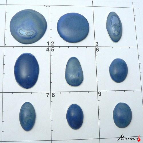 Porcelánové kabošony- indigová efektní-políčko č.1