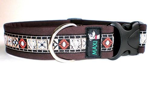 Luxusní maxi obojek hnědý tkaný