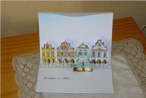 Prostorová pohlednice Telč náměstí
