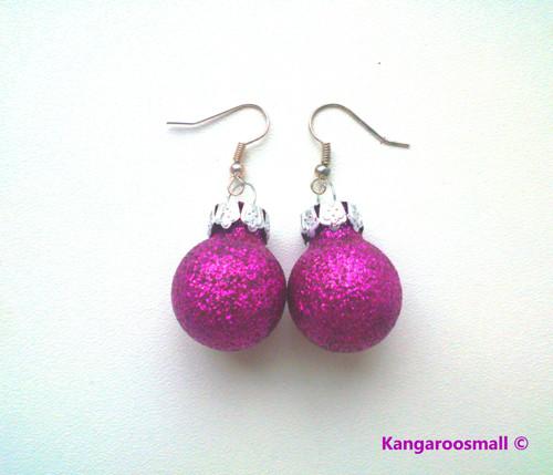 Vánoční baňky : náušnice - růžovofialové třpytivé