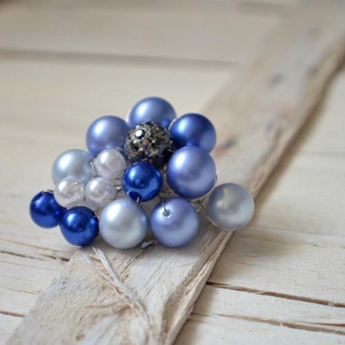 Brož perličková modrá