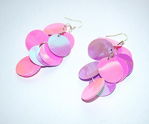576. náušnice - lila s růžovou - flitrové