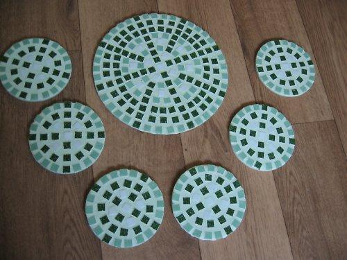 Mozaiková souprava podtácků - zelená