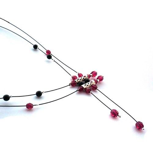 Fuchsiovočerný déšť - náhrdelník