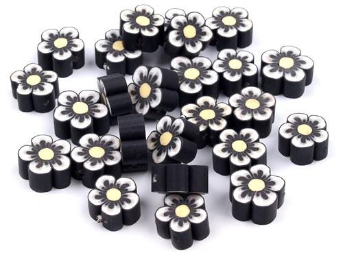 2202001/Fimo korálek květina černá, 3 ks