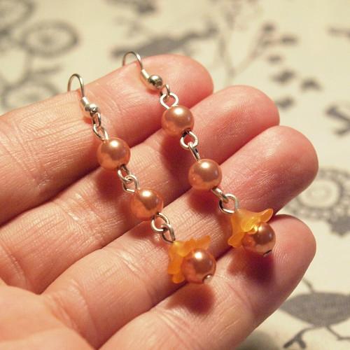 Náušnice - Oranžové kvítky
