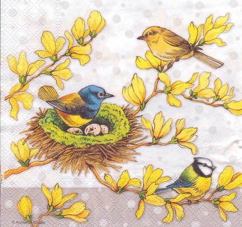 Ubrousek - ptáčci na zlatém dešti