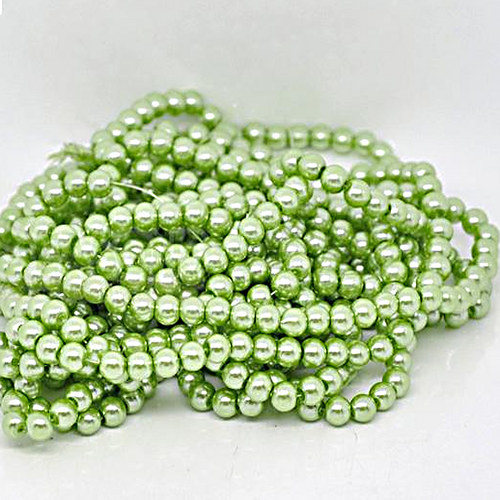perly skleněné / zelená - světle / 6mm/ 20ks